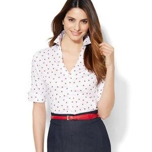 New York and company xs ladybug fitted shirt